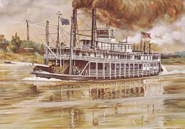 Artist Drawn Paddle Steamer Tarascon Shipping Postcard (S11855) - Paquebots