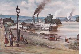 Artist Drawn Paddle Steamer Marietta Wharf In 1882 Shipping Postcard (S11856) - Paquebots