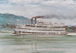 Artist Drawn Paddle Steamer Washington Shipping Postcard (S11857) - Paquebots