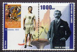 Republic De Guinee Olympics Jim Thorpe Stamp Pair Mnh.