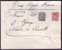 """VOSGES - LSC - Tàd T84 EPINAL Sur N° 98 + N° 101 + """"chargé"""" Pour Lunéville, Au Verso Descriptif De Chgt """"1402"""" - 1876-1898 Sage (Type II)"""