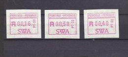 ATM:  South West Africa 1988 Mi. 1.2.2d S1 Redlilac Aut. 2 Three Values Mint/** (G30A-42) - ATM - Frama (viñetas)