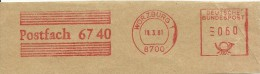 Germany Nice Cut Meter, Freistempel  Postfach 6740  Wurzburg 18-3-1981 - Marcofilie - EMA (Printmachine)