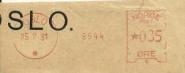 Norway Nice Cut Meter, Freistempel Bank  9544, Oslo 25-7-1931 - Noorwegen