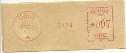 Norway Nice Cut Meter, Freistempel  Bank 3428, Oslo 12-12-1931 - Noorwegen