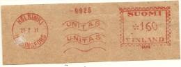 Finland Nice Cut Meter, Freistempel  UNITAS 9925 Bank? , Helsinki Helsingfors, 23-2-1931 - Frankeervignetten (ATM/Frama)