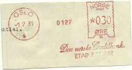 Norway Nice Cut Meter, Freistempel  Den Norske Creditbank 0127, Oslo 1-7-1931 - Frankeervignetten (ATM/Frama)