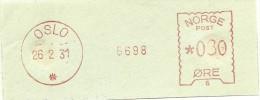 Norway Nice Cut Meter, Freistempel  Den Norske Creditbank? 6698, Oslo 26-2-1931 - Frankeervignetten (ATM/Frama)