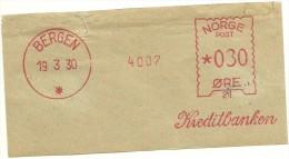 Norway Nice Cut Meter, Freistempel  Kreditbanken 4007, Bergen 19-3-1930 - Frankeervignetten (ATM/Frama)