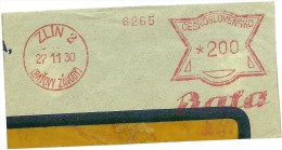 Ceskoslovensko Nice Cut Meter, Freistempel  BATA 6265, Zlin 2 (Batow Zavody) 27-11-1930 - Tsjechoslowakije