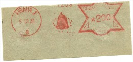 Ceskoslovensko Nice Cut Meter, Freistempel  1208, Clock, Praha 1, 5-12-1931 - Tsjechoslowakije