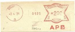 Ceskoslovensko Nice Cut Meter, Freistempel  APB Bank 0126, Praha 3-4-1931 - Tsjechoslowakije