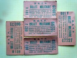R.A.T.P BILLET MILITAIRE 2�me CLASSE/ LIGNE DE SCEAUX/ LOT DE 5 BILLETS.