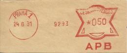 Ceskoslovensko Nice Cut Meter, Freistempel  APB Bank 9293, Praha 24-6-1931 - Tsjechoslowakije