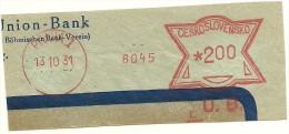 Ceskoslovensko Nice Cut Meter, Freistempel  Union Bank 8045, Praha 13-10-1931 - Tsjechoslowakije