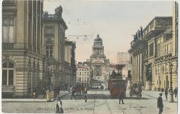 Bruxelles Rue De La Régence TRAM + Horse Carriage Colored Card 1906 - Transport Urbain Souterrain