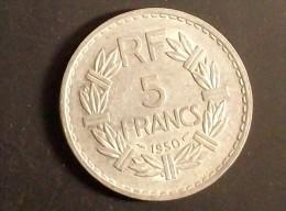5 Francs Type Lavrillier Aluminium 1950 - France