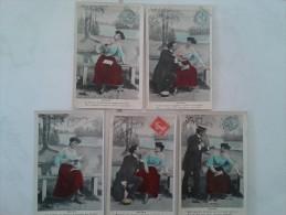 Fantaisies - Lot De 5 Cartes De Femme Et Hommes, Rèverie - Femmes