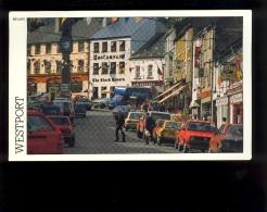 WESTPORT Co MAYO IRELAND street the clock tavern Jim Brennan Irwin Boxty restaurant ( auto Citroen GS VW polo ford