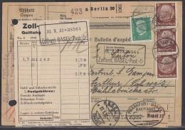 DR Paketkarte Mif Minr.411,3x 473 Berlin 26.10.32 Gel. In Schweiz Mit Bpst.Frankfurt-Basel - Deutschland