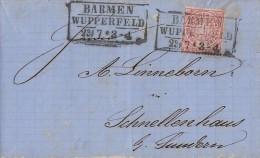 NDP Brief EF Minr.16 Barmen Wupperfeld 23.7. - Norddeutscher Postbezirk