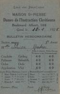 Bulletin Maison Saint Pierre Dames De L´instruction Chrétienne Gand - Diplômes & Bulletins Scolaires