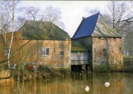 GROBBENDONK (Antw.) - Molen/moulin - De watermolen (winter 2005) met witte zwanen, vissers e.d. - Erg fraai!