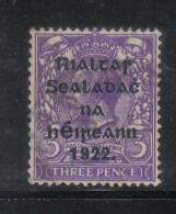 W2010 - IRLANDA , Il 3 P. Violetto Usato - 1922 Governo Provvisorio