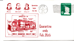 SPACE -   USA - 1971- APOLLO 14 QUARANTINE COVER   WITH  HOUSTON  POSTMARK - Covers & Documents