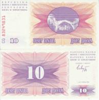 BOSNIA 10 DINARA 1992 FDS UNC - Bosnia And Herzegovina