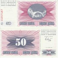 BOSNIA 50 DINARA 1992 FDS UNC - Bosnia Erzegovina