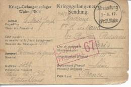 Kriegsgefangenensendung Carte Dédiée Du Camp De Wahn (Rheinland) Censure Du Camp 1917 - Marcophilie (Lettres)