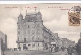 Luxembourg   Hotel Staar  Avenue Adolphe,Avenue de la gare tram tir� par des cheveaux bien anim� circul� en 1907