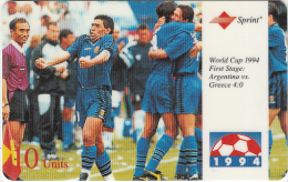 USA - World Cup 1994, Argentina Vs Greece, Sprint Promotion Prepaid Card, Tirage 20000, 09/94, Used