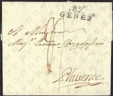 PREFILATELICA PERIODO NAPOLEONICO DA: GENES (87) A: PLAISANCE - 19-07-1810 --- DA: GENOVA A: PIACENZA - Italia