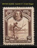 BRITISH GUIANA   Scott  # 211* VF MINT HINGED - British Guiana (...-1966)