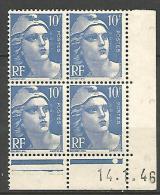 COIN DATE N� 723 VARIETEE 10 ET F RELIER / TIMBRE EN HAUT A DROITE / 1946 NEUF** TTB