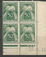 COIN DATE TAXE N� 69  / 1945 NEUF** TB