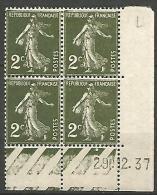 COIN DATE  N� 278  / 1937 NEUF* TTB