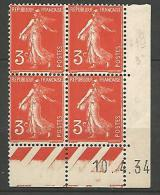 COIN DATE  N� 278A  / 1934 NEUF* TB