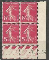 COIN DATE  N� 278B  / 1934 NEUF* TB