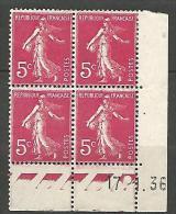 COIN DATE  N� 278B  / 1936 NEUF* TB