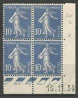 COIN DATE  N� 279  / 1934 NEUF* TTB