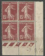 COIN DATE  N� 189  / 1929 NEUF* TB