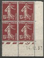COIN DATE  N� 189  / 1937 NEUF* TTB