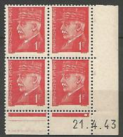COIN DATE  N� 514  / 1943 NEUF* TTB
