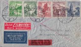 DR Brief Luftpost Eilbote Mif Minr.677,678,680,3x 681,682 Gel. Nach Finnland - Deutschland