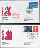 1983 Russia Germany Moscow - Frankfurt - Moscow Lufthansa First Flight Erstflug (2) - Covers & Documents
