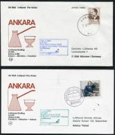 1983 Turkey Germany Ankara - Munchen - Ankara Lufthansa First Flight Erstflug (2) - 1921-... Republic