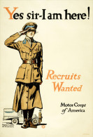 @@@ MAGNET - WAR PROPAGANDA - Yes Sir--I Am Here! Recruits Wanted, Motor Corps Of America - Publicitaires